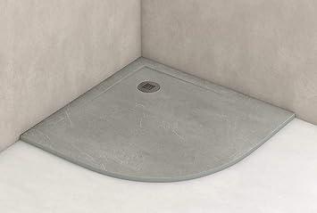 Plato ducha resina antideslizante textura pizarra Smooth Bricodomo 90x90 Semicircular Gris: Amazon.es: Bricolaje y herramientas