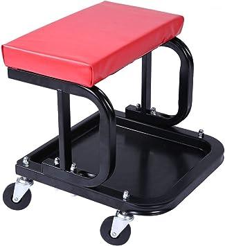 WEN Rolling Mechanic Stool 300 lb Capacity Pneumatic Seat Garage Roller Chair