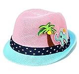 Roffatide Kids Summer Tree Elephant Straw Fedora Hat Boys Girl Breathable Bucket Boonie Hat Blue