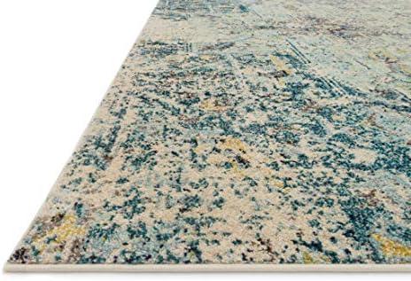 Loloi II Nadia Collection Vintage Distressed Persian Area Rug 6 -7 x 9 -2 Navy Aqua