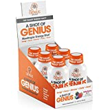 Shot of Genius - Nootropic Energy Shots | The Smart Energy Drink for Men & Women w/ Alpha GPC & Blueberry Extract | Extra Strength Brain Boost Supplement | Spark Focus & Support Mood - Sugar Free -6ct