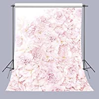 FUERMOR Blooming Roses Floral Wall Photography Backdrop Art Studio 5x7ft Pink Flowers Photo Background A201