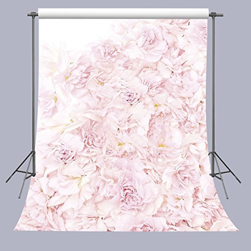- FUERMOR Blooming Roses Floral Wall Photography Backdrop Art Studio 5x7ft Pink Flowers Photo Background A201
