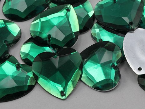 Emerald Flat Beads (20mm Emerald CH18 Heart Flat Back Sew On Beads for Crafts - 25 Pieces)