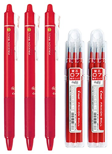 Pilot FriXion Ball Knock Retractable Erasable Gel Ink Pens, Extra Fine Point 0.7mm, Red Ink, 3 Pens & 6 Refills Value Set