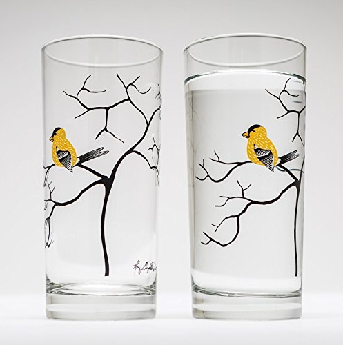 Yellow Finch Drinking Glasses - Set of 2 Yellow Bird Glasses, Bird Lovers Glassware, Gift for Her
