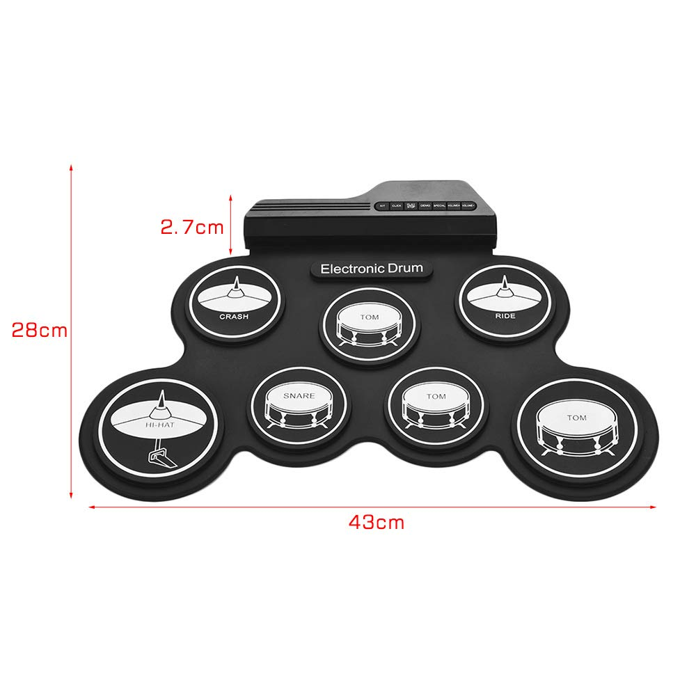 JFGUOYA Electronic Drum Set, Portable Electronic Drum Pad - Built-in Speaker (DC Powered) - Digital Roll-Up Touch 7 Labeled Pads and 2 Foot Pedals, Midi Drum Up to 10H Playing Time, for Kids by JFGUOYA (Image #4)