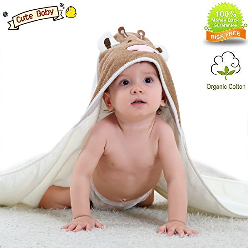 YAMOM Organic Hooded Baby Towel Bathing Cotton Blanket Washcloth Luxury Soft Comfortable Long Cows for Newborns Infants Toddlers Kids Boys and Girls (White) ...
