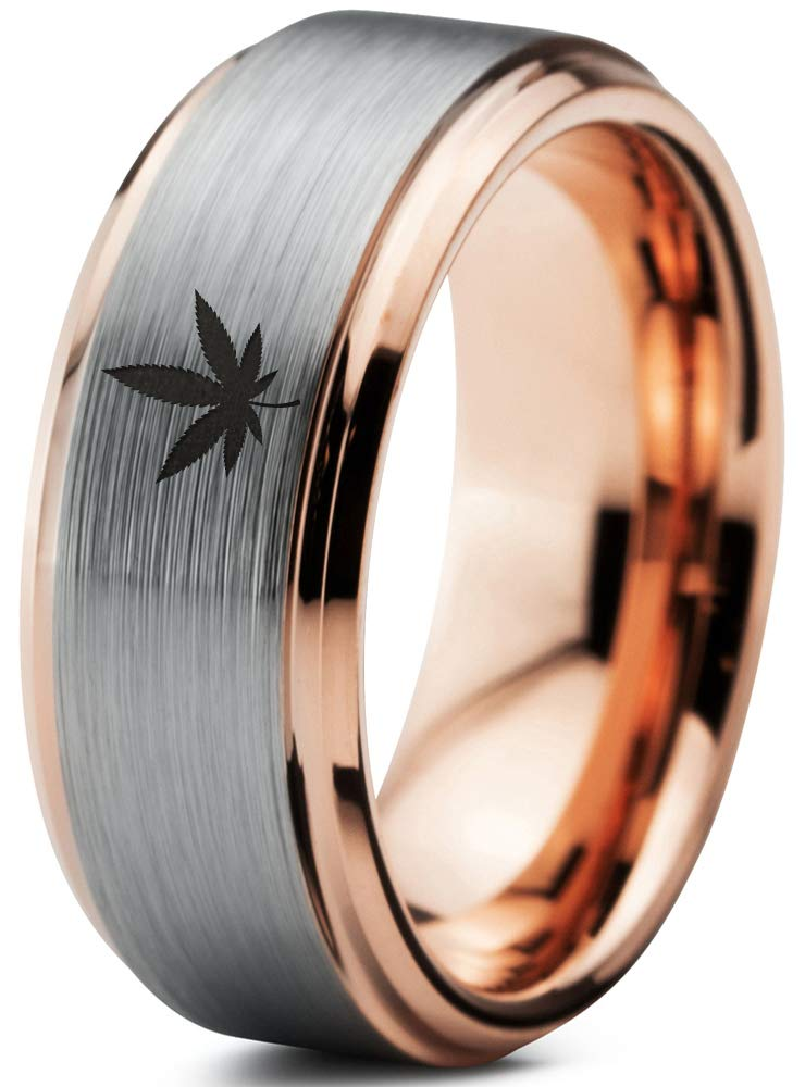 Marijuana Weed Cannabis Leaf Ring – Tungsten Band 8mm – Men – Women – 18k Rose Gold Step Bevel Edge – Yellow – Grey – Blue – Black – Brushed – Polished – Wedding – Gift Dome Flat