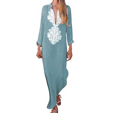 085232f0c4bb3 Hibote Col en V Robe pour Femmes Élégante Loose Fit Longue Robe à Manches  Longues Mode