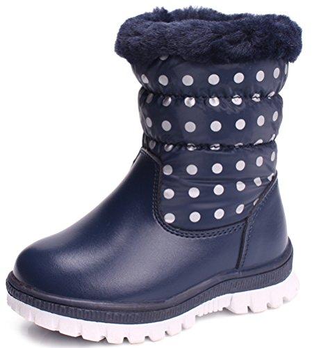 VECJUNIA Baby Boys' Girls' Polka Dots Shearling Zipper Fleece Snow Boots (Blue, 8 M US Toddler)
