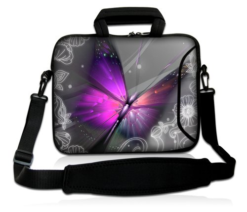 Luxburg® Design Funda bandolera Blanda Bolso Sleeve para Ordenador Portátil / MacBook de 17,3 pulgadas, motivo: Peces de colores Mariposa gigante