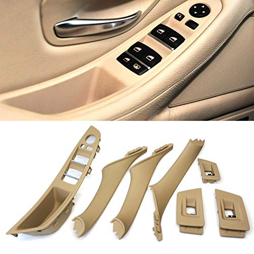 FEXON Beige Window Switch Armrest Panel, Inner Door Pull Handle Trim Cover Kits for 2010-2016 BMW 5 Series 520 523 525 528 530