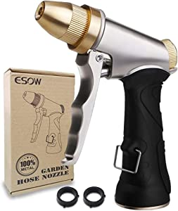 ESOW Garden Hose Nozzle 100% Heavy Duty Metal, Full Brass Nozzle & ABS Non-slip Ergonomic Grip, 4 Watering Patterns, High Pressure Metal Spray Gun for Watering Plants, Car Wash and Showering Dog