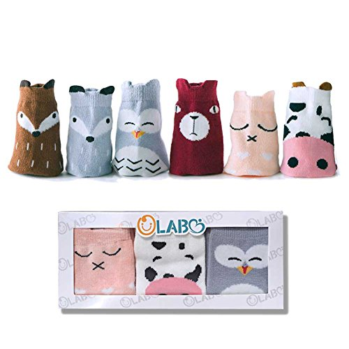 OLABB Toddler Socks with Grips Animal Crew Socks Non-skid 6 Pairs Gift Set (Girls B, M 1-3 years)