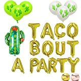 16'' Gold Foil Balloon Taco Bout A Party Cactus Balloons Engagement Bachelorette Birthday Taco Shower Fiesta Party Theme Baby Shower Pregnancy Announcement Ideas Mexican Fiesta Theme Supplies