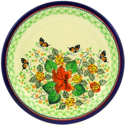 Polish Pottery Dinner Plate 11-inch Butterfly Meadow UNIKAT