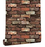 HaokHome 620501 Vintage 3D Faux Brick Peel and Stick Wallpaper17.7'' x 19.7ft Rusty/Brown Self Adhesive Contact Paper