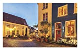 Lunarable European Doormat, Ancient Dutch Street with Houses Small Restaurants Doesburg The Netherlands, Decorative Polyester Floor Mat with Non-Skid Backing, 30 W X 18 L inches, Yellow Red Blue
