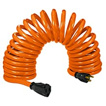 Flexy Coiled Extension Cord Extends 14 in. to 20 ft. - 10 Gauge - 20 Amps