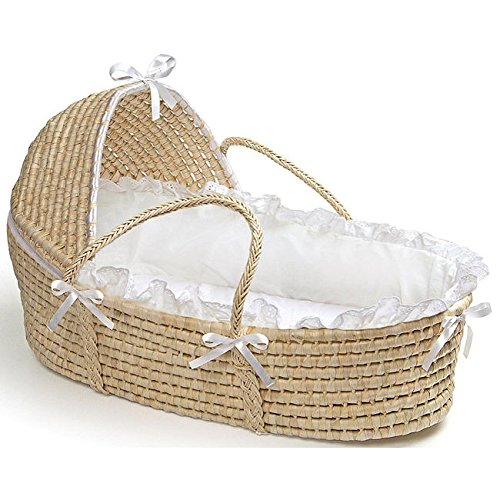 Natural Hooded Moses Basket in White Baby Furniture