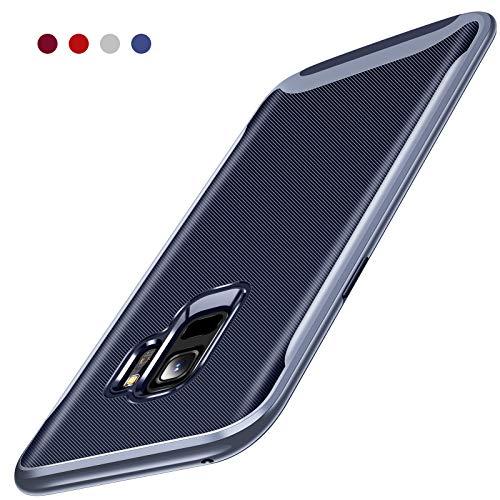 Galaxy S9 Case, TORRAS 2 in 1 Hybrid Anti Fingerprint Slim Fit Soft TPU Rubber Cover Hard Plastic Bumper Scratch Resistant Phone Case Samsung Galaxy S9, Navy Blue/Blue Edge