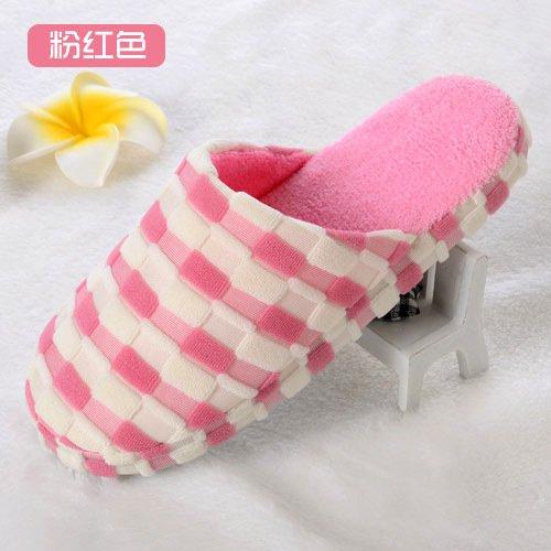 Y-Hui Bump zapatillas, zapatillas de algodón, cuadrado de color casa remolque algodón,4041,Rosa