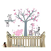 Pink Gray, Jungle Decals, Girl Jungle Stickers, Baby Girl Nursery Décor, Fabric Tree Decal