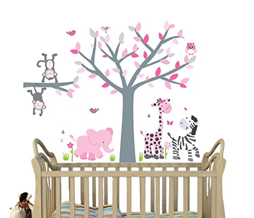 Pink Gray, Jungle Decals, Girl Jungle Stickers, Baby Girl Nursery Décor, Fabric Tree (Baby Fabric Stickers)