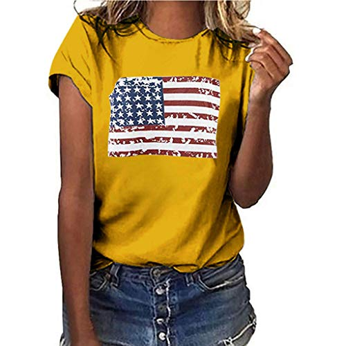 Women July Fourth T-Shirt National Flag Independence Day Print Short Sleeve Tops ()