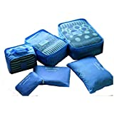 Travel Packing Cubes Set of 6 Organizer Bags. (Blue)
