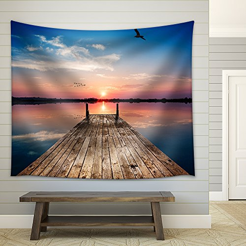 Perspective View of a Wooden Pier on the Pond at Sunset with Perfectly Specular Reflection Fabric Wall Tapestry
