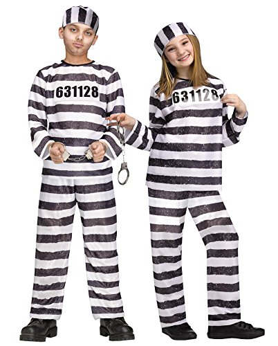 Convict Clown Child Costume (UHC Jailbird Outfit Funny Theme Child Fancy Dress Halloween Costume, Child L (12-14))