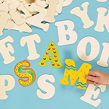 Baker Ross Large Wooden Letters For Children To Paint Decorate Templates Pack