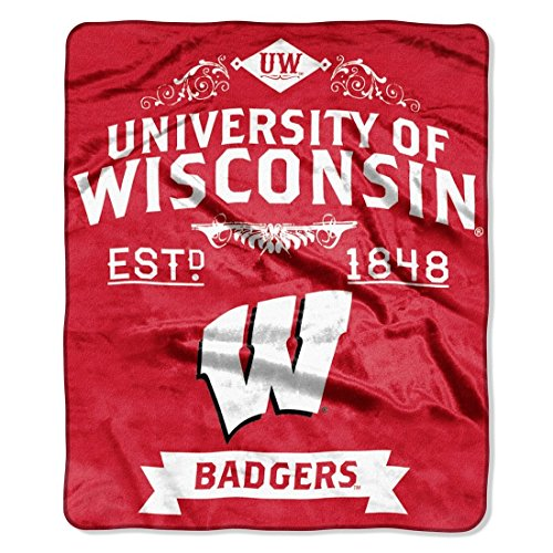 Officially Licensed NCAA Wisconsin Badgers Label Plush Raschel Throw Blanket, 50