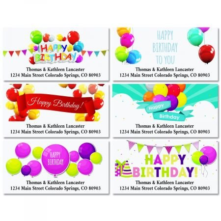 Happy Birthday Personalized Return Address Labels- Set of 144, Large Self-Adhesive, Flat-Sheet Labels By Colorful Images (6 Designs)