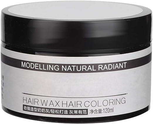 Cera de color de cabello gris, coloración temporal desechable Peinado Crema Modelado Moda DIY para hombres y mujeres Fiesta Cosplay