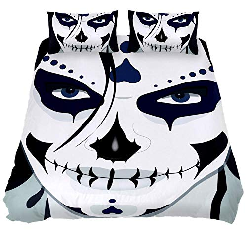 LORVIES Halloween Guy Makeup Style Duvet Cover Set, 3 Pieces - Microfiber Comforter Quilt Bedding Cover with Zipper, Ties, Decorative Bedding Sets with Pillow Shams for Men Women Boys Girls Kids Teens -