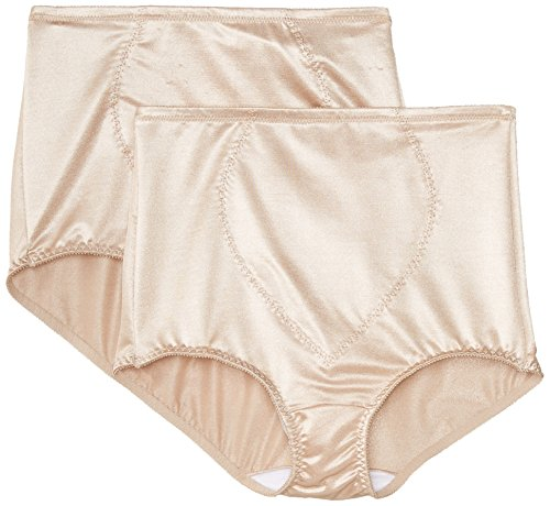 Bali Women's Shapewear Tummy Panel Brief Firm Control 2-Pack, Nude, 2X