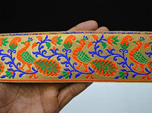 Wholesale Orange Saree Brocade Border Gold 2.3 Inch Wide Brocade Silk Sari Border Embellishments Jacquard Trim by 9 Yard Clothing Accessories Christmas Supplies Ethnic Designer Fancy - Border Silk Brocade