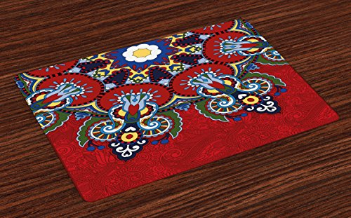 Ambesonne Red Mandala Place Mats Set of 4, Russian and Ukranian Lace Like Flowers Leaves Swirls Vintage Artwork, Washable Fabric Placemats for Dining Room Kitchen Table Decor, Red Blue
