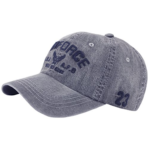RaOn B418 New Denim Vintage Washing AIR Force Ball Cap Military Baseball Hat Truckers (Gray)