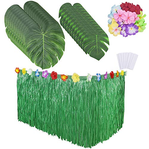 Livder Hawaiian Artificial Grass Table Skirt, Tropical Palm Leaves and Flowers, Summer Jungle Beach Theme Party Decorations Supplies, Table/Wall/Home Decor Artificial Grass Table Skirt