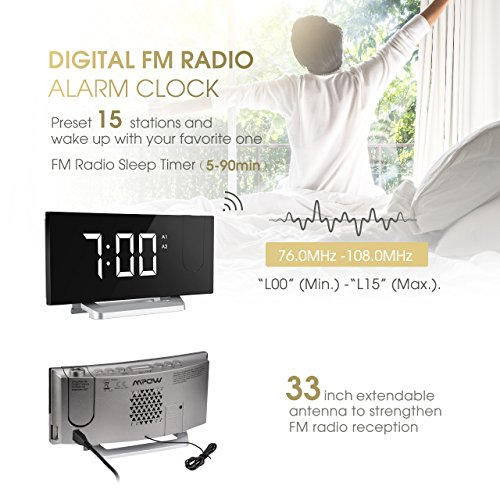 Mpow Fm Projection Alarm Clock Radio Bedside Alarm Clock