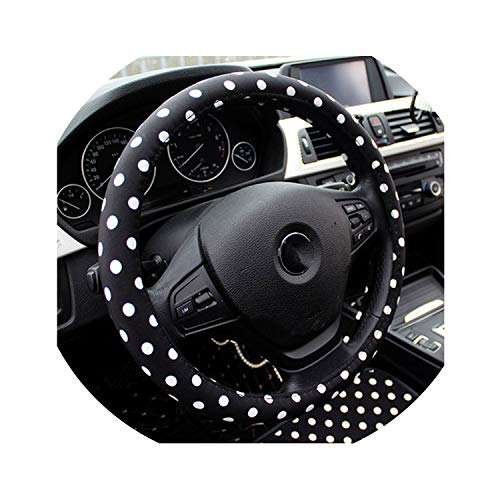 Vicky-travel-pillows Leather Car Neck Rest Pillow Shifter Hand Brake Covers Set Dot Cute Steering Wheel Cover Girls Women Auto Interior Accessories,Steering Wheel Cover