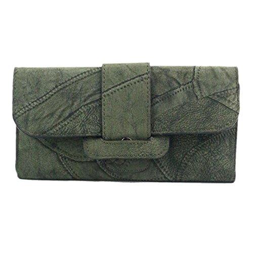 Women Bowknot Long Purse Button Wallet Clutch Hand Bag (Green) - 7