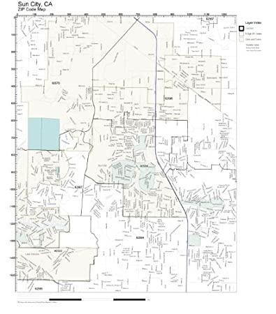 Amazon Com Zip Code Wall Map Of Sun City Ca Zip Code Map Laminated