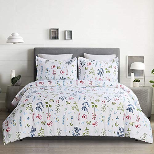 YEPINS Microfiber Duvet Cover Set with Zipper Closure, Floral Print Pattern Reversible Design, White Background - King Size (104