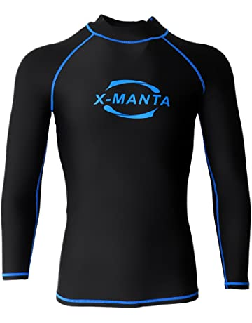 ad70f49be Sharplace Men's Rash Guard Top Swimming Surfing Diving Shirts Sun  Protection Long Sleeve Wetsuits Rash Vests