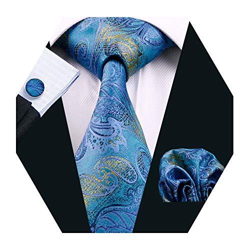 YOHOWA Mens Blue Silk Tie Pocket Square Stripe Novelty Necktie Cufflinks Set
